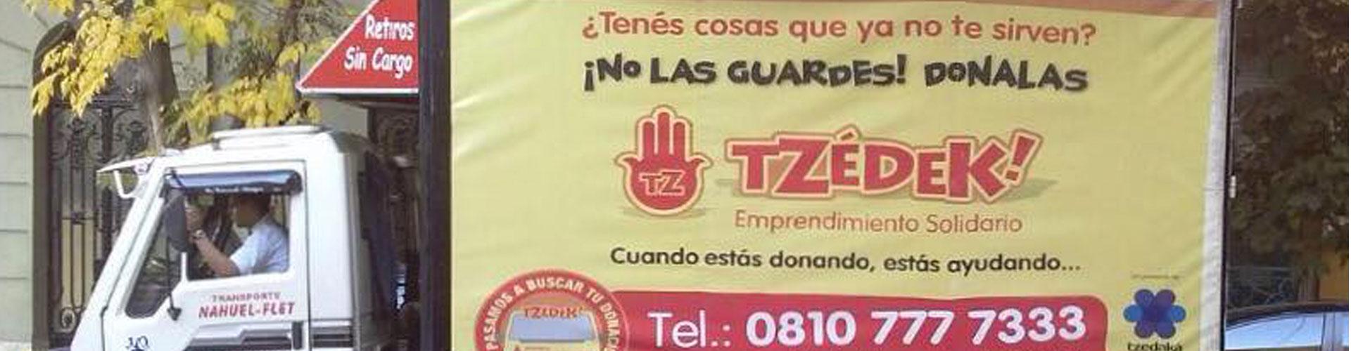 Camión Tzedek donaciones retiros gratis